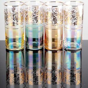 4-zarte-bunte-irisierende-14-5-cm-hohe-Becher-Glaeser-Longdrink-Golddekor-Vintage