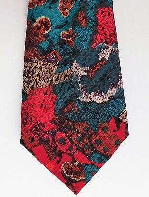 Abstract multi-coloured British tie by Folkespeare vintage 1980s 1990s bright