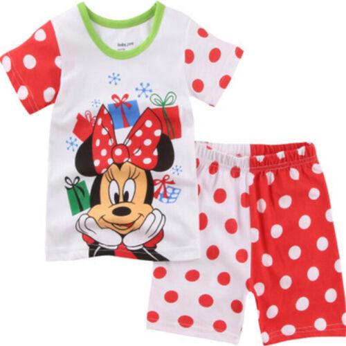Mädchen Schlafanzug Minnie Mickey Pyjama Nachtwäsche Schlafwäsche Kinder Kurzarm