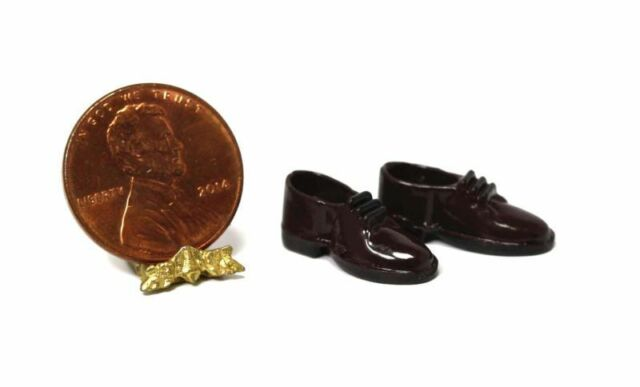 ee7be6892f783a Dollhouse Miniature 1 12 Scale Pair of Dark Brown Men s Dress Shoes ...