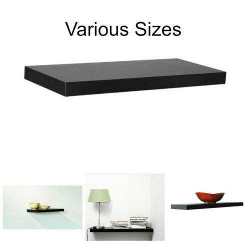 Slim Floating Shelf Home Room Wall Display Collections Decor in Black and White