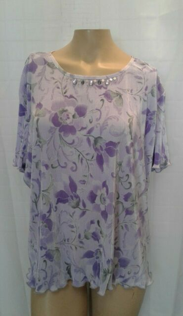 NEW Alfred Dunner Womens Petite PXL Purple Short Sleeve Embellished Blouse NWT