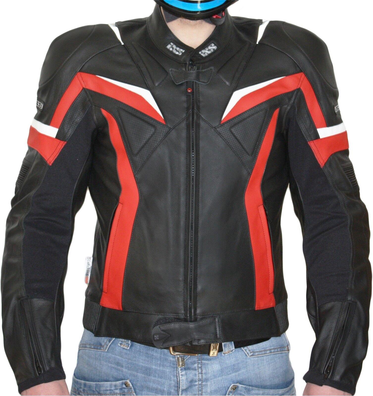 Reducido IXS RX black red Chaqueta  de cuero para hombre SPORT RACING  classic fashion
