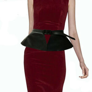 5c53159a1a Image is loading Leather-Womens-Wide-Belt-Adjustable-Skirt-Peplum-Corset-