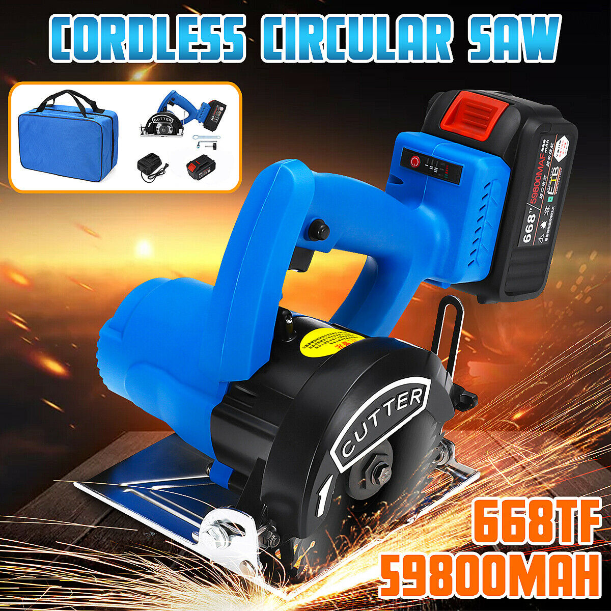 668TF 59800mah Cordless Electric Circular Saw 1500W With Li-ion Battery &Charger
