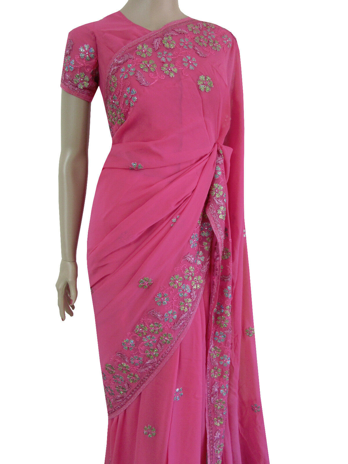 Party Wear Indian Designer Dusky Pink RRP  Handwork Wedding Garba Saree