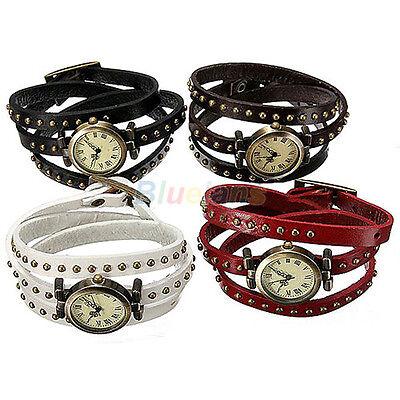 Vintage Women's Retro Punk Rivet Stud Leather Strap Quartz Bracelet Wrist Watch