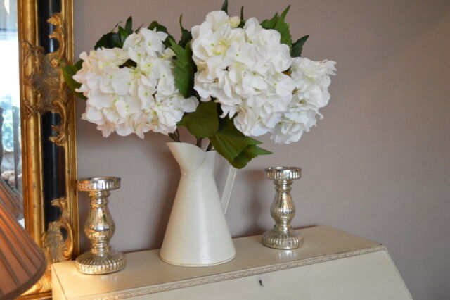 Bunch of 3 Extra Large, White Hydrangeas, Artificial Luxury Giant Silk Flowers