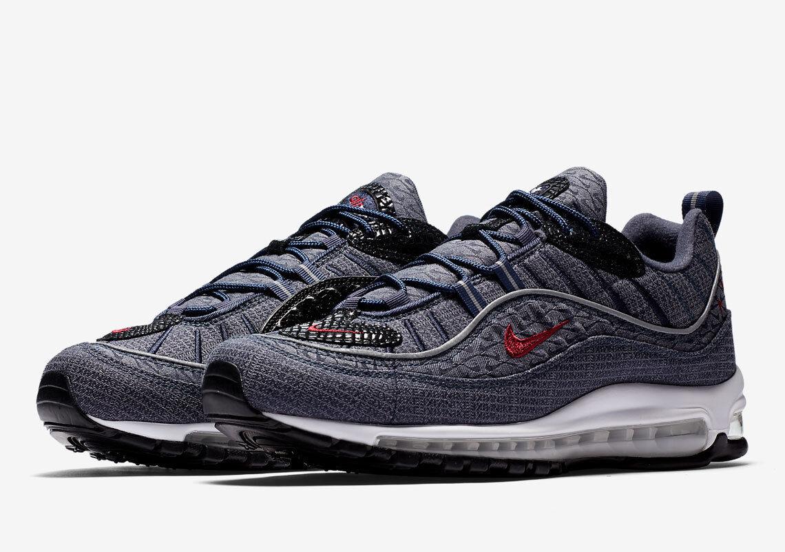 online retailer 3a5ed 5d8fc Nike Air Max 98 QS Thunder Blue Grey Denim Red Men Shoes Sneaker 924462-400  11