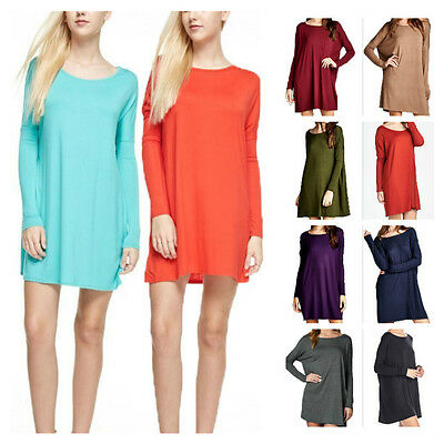 USA Women Boat-Neck Dolman Long Sleeve Tunic Top Casual Piko Style Dress Plus