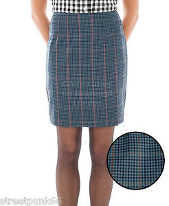 8b307f30af57 Image is loading Relco-Womens-Blue-Tweed-Overcheck-Fitted-Skirt-60s-