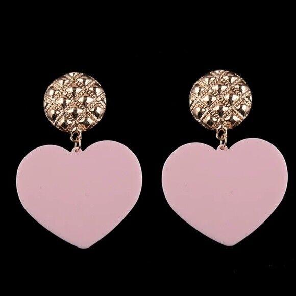 Cute Light Pink Heart and Gold Drop Dangle Earrings