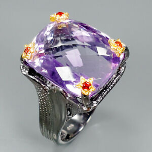 Top-Color-24ct-Natural-Amethyst-925-Sterling-Silver-Ring-Size-8-5-R89393