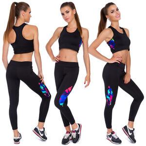 unique design compare price united kingdom Details about Women Activewear Tracksuit Crop Top Sports Gym Leggings Set  2Pcs UK M-2XL FS8819