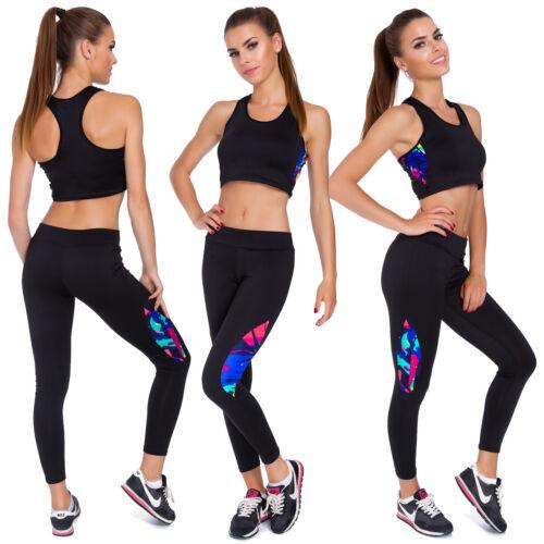 Women Activewear Tracksuit Crop Top Sports Gym Leggings Set 2Pcs UK M-2XL FS8819
