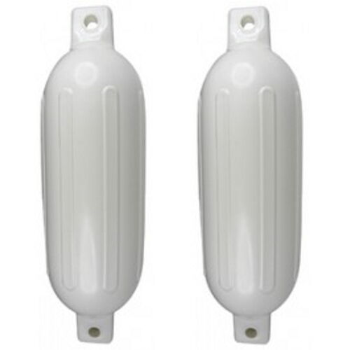 2 Pack 6-1//2 Inch x 23 Inch Double Eye White Inflatable Vinyl Fenders for Boats