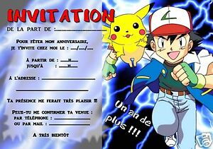5 Ou 12 Cartes Invitation Anniversaire Pokemon Ref 293 Ebay