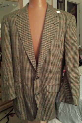 MAGEE Tailored Plaid Houndstooth TWEED Brown Blazer 44R Jacket