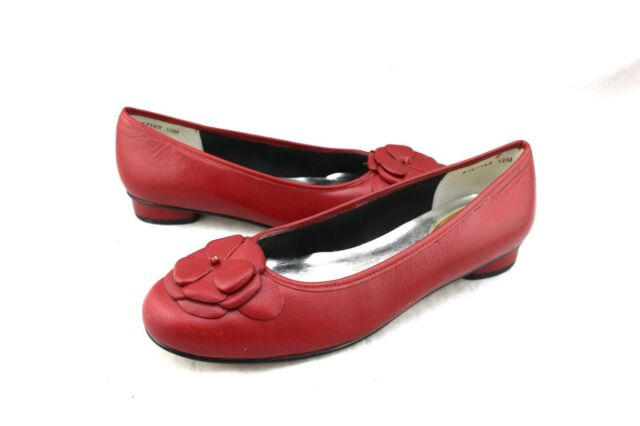 ROS HOMMERSON Red Leather Flower Ballet Style Flats Shoes 12 New
