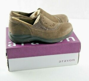 Aravon-Revsolace-Loafers-Womens-Sz-6-5-2E-Extra-Wide-Brown-Nubuck-Leather-Shoes