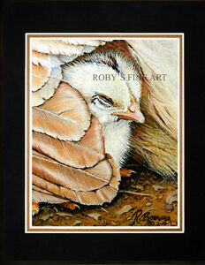 Matted-Baby-Chick-And-Hen-Chicken-Art-Print-034-Power-Nap-034-8x10-Mat-by-Roby-Baer