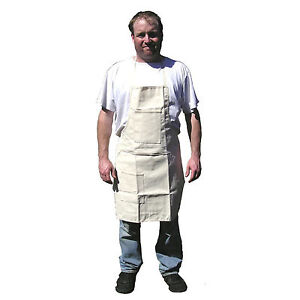 HAWK AC018 - Solid Off White Unisex Cloth Apron Shop Kitchen One Size Fits Most
