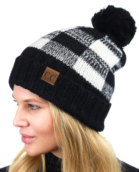 879d0227070 CC Beanie Soft Stretch Pom Pom Fuzzy Lined Buffalo Plaid Cuff Beanie Hat