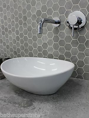 KROHLI Basin Counter Top Compact Small OVAL CURVE White Ceramic 410mm wide 330mm