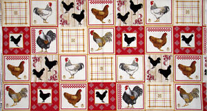 Farm-Rooster-Bird-Fabric-100-Cotton-24-034-Panel-Timeless-Treasures-Kitchen