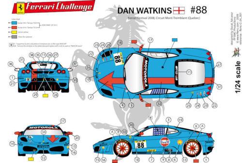"FFSMC Productions Decals 1//24 Ferrari F-430 Challenge /""Gulf/"" de Don Watkins"