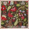 BonEful Fabric FQ Cotton Quilt Brown Thanksgiving Flower Red Green Leaf VTG Xmas