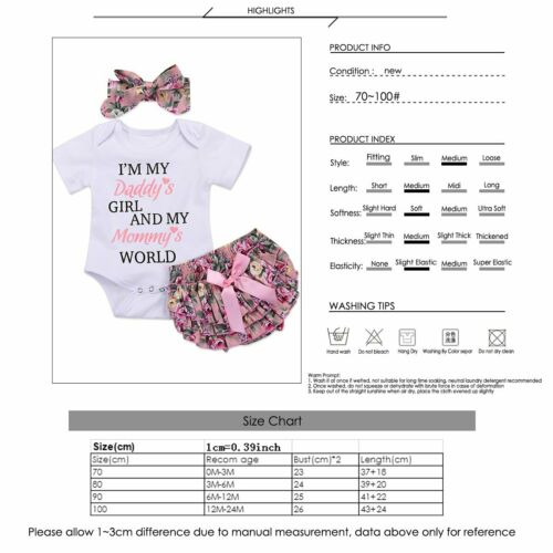 Newborn Baby Girl Daddys Girls Tops Romper Floral Short Pants Outfit Clothes Set