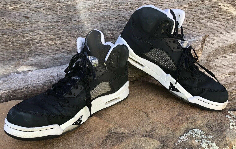 best service 76562 e96b3 Nike Air Jordan 5 Retro Size Size Size 11 Oreo 136027-035 Black Leather  f6c1ab