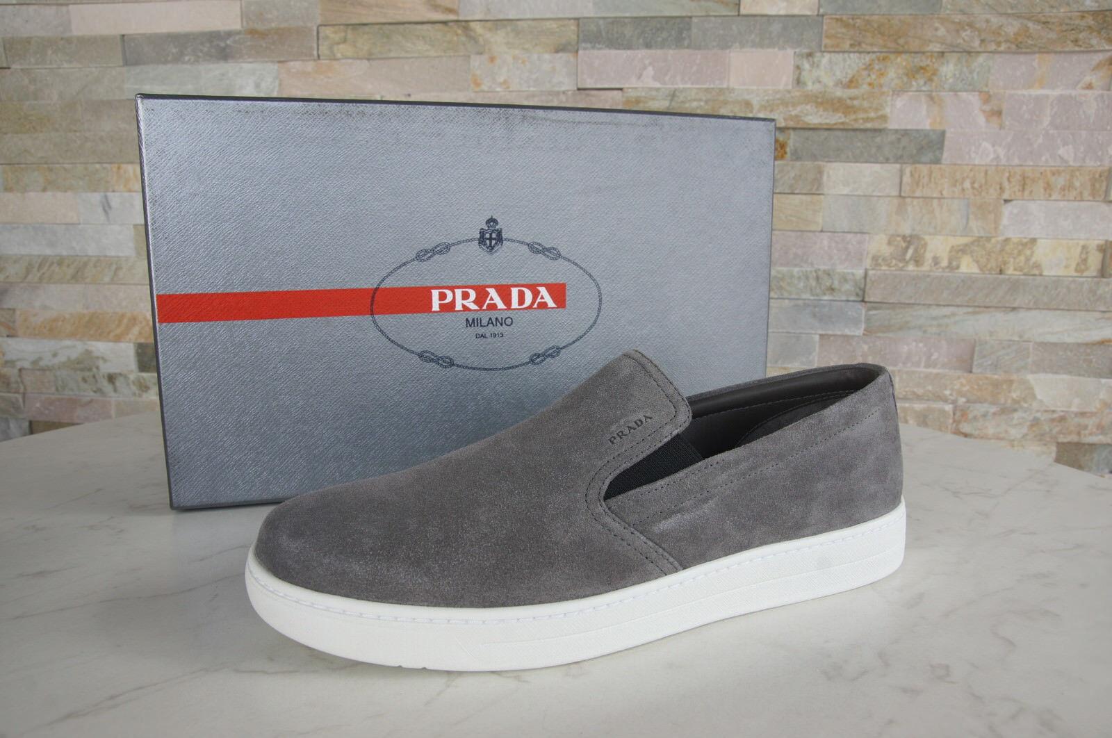 PRADA Gr 6 40 40 6 Slipper Slip-Ons Sneakers Halbschuhe 4D2733 grau Kies NEU 8fce32