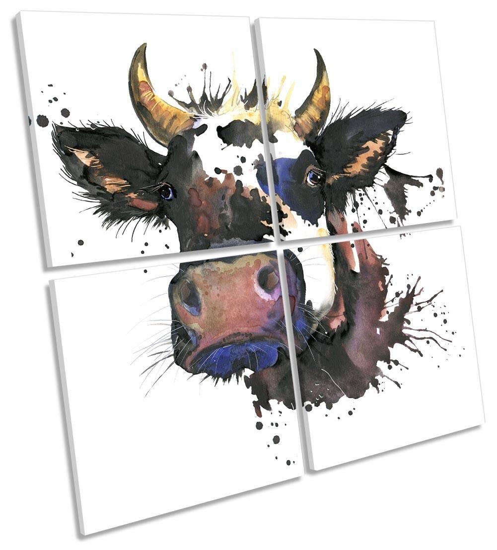 MUCCA Faccia Acquerello REPRO incorniciato Multi stampa tela tela tela arte Square 07631f