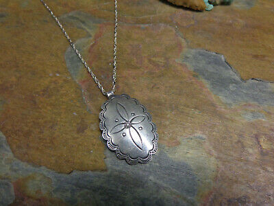 NAVAJO STYLE SILVER CROSS CONCHO PENDANT NECKLACE NATIVE OLD PAWN FRED HARVEY
