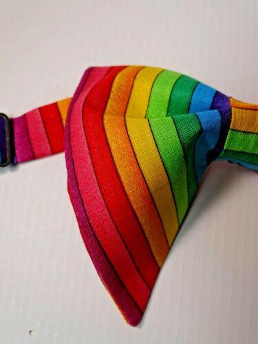 Handmade Pride Bow Tie Handkerchief Rainbow LGBT Pre-tied Colorful Striped