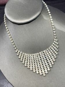 "Stunning Silver Clear Rhinestone Vintage Necklace Wedding Flower Girl 12- 14"""