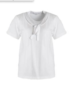 8245555a26b COMME DES GARCONS GIRL White Cotton Tie Bow T-Shirt Tee Blouse Top ...