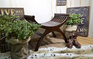 Sitz-Bank-Mahagoni-Holz-Hocker-Vintage-Gondel-Flur-Massiv-Holz-Braun-Kolonial