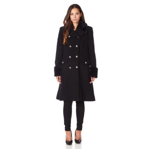De La Creme Womens Military Cashmere Wool Winter Coat Fur Collar