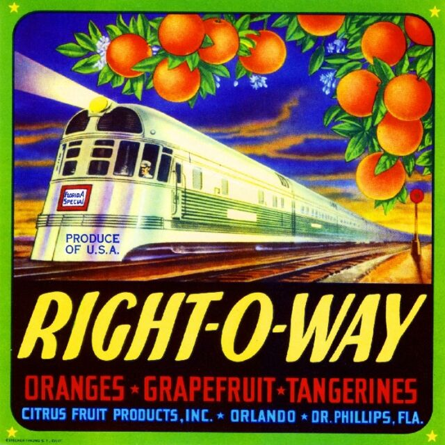 Orlando Right-O-Way Florida Train Orange Citrus Fruit Crate Label Art Print