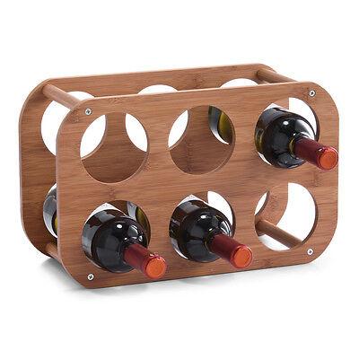 6-Fach Weinregal Bambus Flaschenregal freistehendes Regal für Flaschen Küche