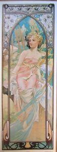 art-print-AWAKENING-Alphonse-Mucha-tall-lady-woman-nouveau-deco-vtg-repro-11x30