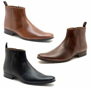 New Mens Red Tape Black Langden Leather Boots Chelsea Zip