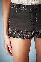 Kate Moss Topshop Studded Denim Lace Shorts Hotpants Black UK 4 6 8 10 12 14