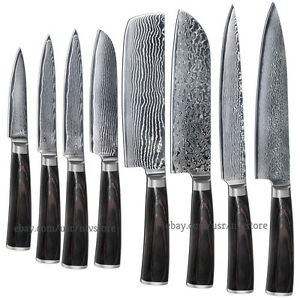 Damascus Kitchen Knife Set Japanese VG10 Steel 8 Chef Santoku ...