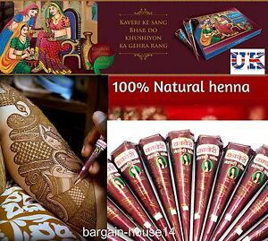 3 X Best Quality Natural Henna Tattoo Cones Darkest Cheapest On