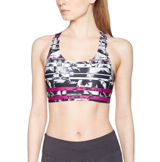 4874e3f8934d4 Puma Pwrshape Yoga Sports Bra Forever Graphic Black Magenta Feather Size 16