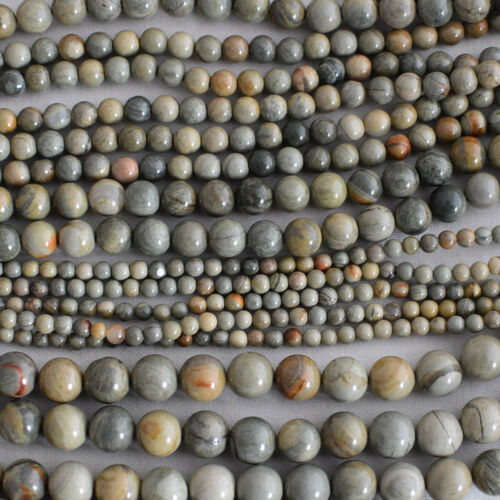Grade A Natural Green Silver Leaf Jasper Gemstone Round Beads 4mm 6mm 8mm 10mm